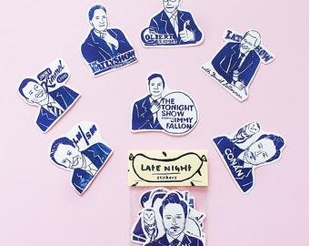 SALE - Late Night Sticker Pack -Set of 7 - Vinyl Stickers - Hand Drawn Sticker - Handmade Sticker - Presenters Sticker