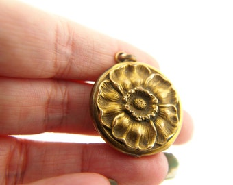 Repousse Flower Locket  - Vintage