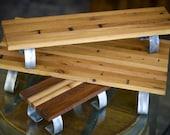 Set of 3 Barrel Top Serving Board Planks On Steel Legs