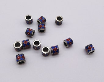 6mm Tibetan beads, Tube beads, Big Hole beads, Tube connector, Tube spacer, Blue and Red beads, 4mm hole spacers, 4mm hole beads