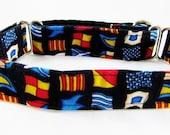 "1"" Martingale collar, Greyhound Collar, Boating Flags, 2"" Martingale, Sailing Collar, Nautical Martingale Wide Collar Great Dane Collar"