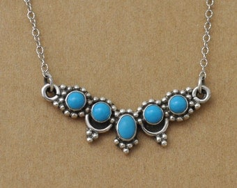 VINTAGE FIND sterling silver natural blue turquoise stones necklace, 925 sterling,