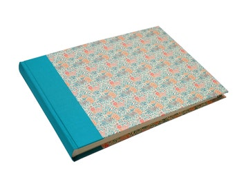 Wedding Photo Album, Family Album, turquoise teal summer flowers