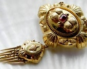 RESERVED was 290 Gorgeous Victorian 14k solid gold and faceted garnet ornate pin brooch with removable fringe bottom  - vintage jewelry