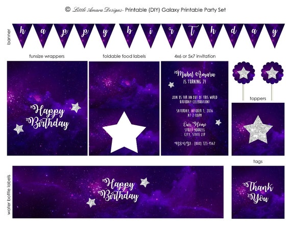 Galaxy Birthday Party Printable Set