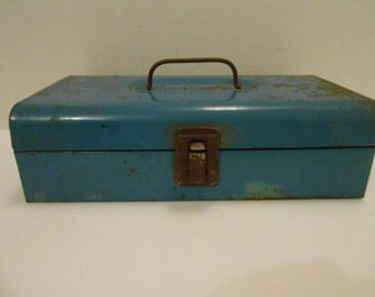 Mid Century Bernz-O-Matic Torch Set in a Metal Tool Box/Deep Robin Egg Blue Color