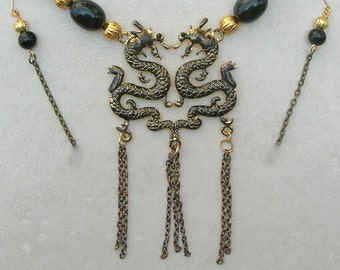 Year of the Dragon, Double Black Dragons, Vintage Black Lucite Beads, Corrugated Gold-Plated Beads, Necklace Set by Sandra Designs