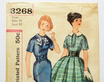 1950s dress pattern, full skirt, kimono sleeves, wiggle skirt, Simplicity 3268, teen size 14 bust 34, vintage sewing pattern