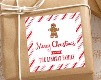 Personalized Christmas Gift Stickers - Gingerbread Man with Candy Cane Stripes - Set of 12