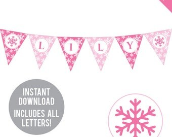 INSTANT DOWNLOAD Pink Snowflake Party - DIY printable pennant banner - Includes all letters, plus ages 1-18
