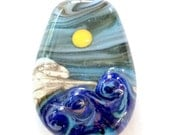 Brewing Storm : Ocean Wave 3D Lampwork Bead Handmade Sunny Day Mountain Landscape Focal