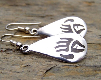 Tribal Earrings Primitive Jewelry Silver Bear Paw Earrings Southwestern Native American Jewelry Bear Claw Earrings