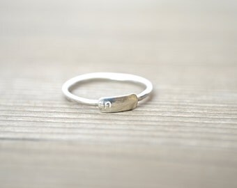 Small Bar Ring - Personalized Ring in Sterling Silver, Gold Filled, and Rose Gold Filled