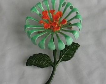 """SALE Flower Power Green and Orange  Enamel Brooch 2.75"""""""