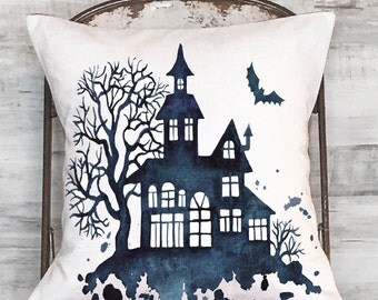 Halloween Pillow Cover Haunted House