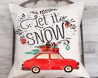Christmas Pillow Cover Holiday Decor Red Car with Christmas Tree Let it Snow
