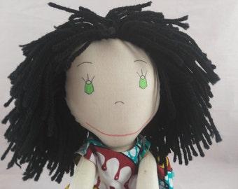 Enchanting Rag doll, Black Hair Rag Doll, Cloth Doll, Plush Toy, Soft Doll, Fabric Doll, Stuffed Doll