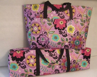 Silhouette Cameo Carrying Case Combo Set/ Laptop Accessory Bag/ Cricut Expression Bag/ Scrapbooking Tote Set/ Purple Floral Fabric Print