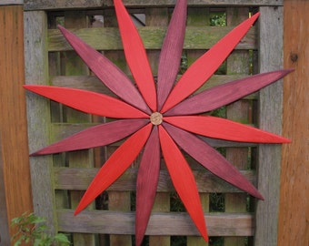 """Colorful Garden Wreath - Starburst Wooden Decor for Walls, Doors and Fences - 17"""" - outdoor art handcrafted by Laughing Creek"""