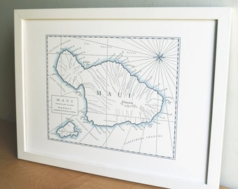 Maui, Hawaiian Islands, Letterpress Printed Map (Navy Blue)