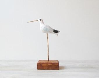 Vintage Bird Figure, Hand Painted Handmade Wood Sand Piper, Beach Decor