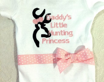 """snap tee """"Daddy's little buck hunting princess"""" bodysuit one piece - snap tee -  bodysuit  choice of size and colors"""