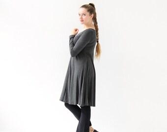 Gray A line Dress| Casual Dress| Long Sleeve Dress| Jersey Dress| Loose Cotton Dress| Midi Dress| Lagenlook Clothing| Swing Dress|
