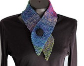 Ombre Scarf / Button Scarflet / Knit Neckwarmer / Blue Purple Rose Scarf
