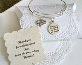 Mother Of The Groom Gift, Mother In Law, Thank You For Raising The Man Of My Dreams, Mother In Law Bracelet
