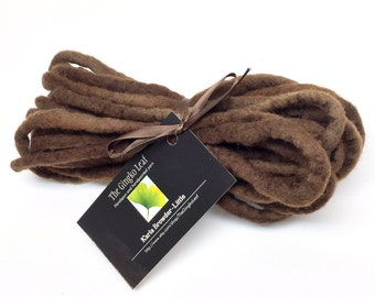 Hand felted wool cord in hand dyed brown merino wool - 4.3 yards long and 5/16 inch thick, .75 ounces/ 21 grams
