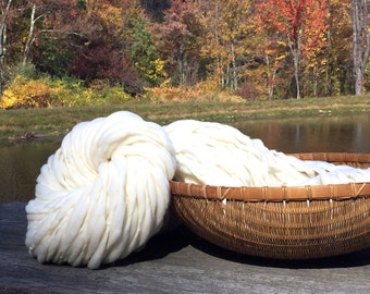 15% off 200 yards and 12.8 ounces, 364 grams chunky handspun yarn, spun thick and thin in undyed cream merino wool
