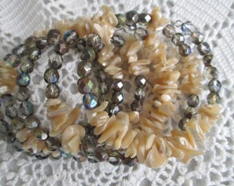 Mother of Pearl Diva Memory Wire Bracelet  - Mother of Pearl Chips - Metallic Czech Crystals - Chic and Classy - Fall Wardrobe - Gift Item