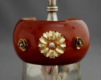 Mari - Big Bold OOAK  Eco Fashion Wooden Bangle with Pearl and Brass Flower Accents, Fashion, Boho, Eco, Wood Bracelet, gift idea for her,