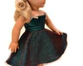 "Emerald Green Holiday Dress - ORIGINAL by Dollhouse Designs for 18"" Dolls"