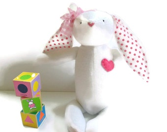 Fabric bunny rabbit, Easter bunny toy, girl bunny, white pink, softie plush, polka dots, soft bunny gift for children
