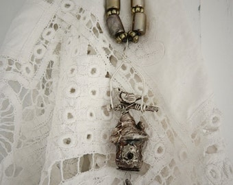 Original PMC Hand Sculpted Silver Birdhouse Pendent Necklace by Maure Bausch