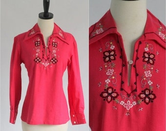 Vintage Peasant Blouse 1970s Peasant Top Red Cotton Blouse Red Cotton Top Embroidered Blouse Womens Size Small Medium