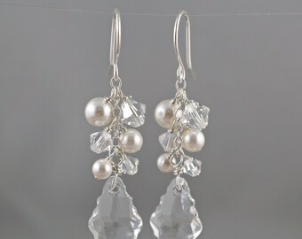 Bridal Earrings, Swarovski Baroque Clear Crystal pendant, Ivory or White pearls, Long cluster Drop, Wedding jewelry, Beach Statement piece