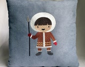 """Young eskimo 12""""x12"""" pillow, embroidered on soft suede-ish light blue harringbone fabric"""