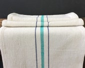 French Grainsack Style Table Runner - Turquoise and Navy 14 x 63 inches