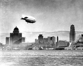 Blimp over Toronto Canada 1929 1930s Airship Dirigible Lake Ontario Royal York Hotel Canadian City Black and White Photography Photo Print