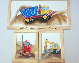 set of 3 paintings,construction vehicles,build it theme, painted on wood,dump truck,excavator,boys art,boys wall art,construction decor