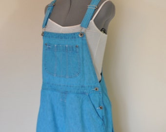 "Aqua Medium Bib OVERALL Shorts - Teal Dyed Upcycled Christopher & Banks Cotton Denim Shortalls - Adult Womens Size Medium (34"" Waist)"