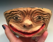 Funny Face Yarn Bowl Handmade Ceramic OOAK