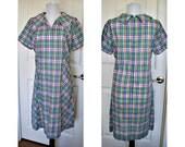 Vintage 1960s plaid multi color house dress - all cotton - metal zipper
