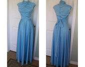 Vintage 70s advant guard, lush blue disco goddess dress - creamy dreamy fabric