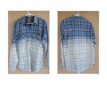 Vintage Grunge flannel dipped - all cotton - worn and soft - perfect for winter