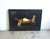 Couroc Tray Mice Cheese, Inlaid Black Satin Cheese Tray Montery Ca