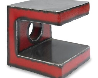 Red C Side Table Modern Side Table Industrial Style