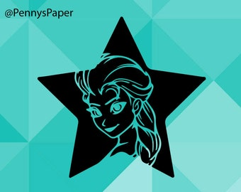 Elsa inside Star, Frozen, Disney, Kids Cutting File,  Paper Cut File for silhouette or circut - SVG file - Srapbooking and Paper Art DYI